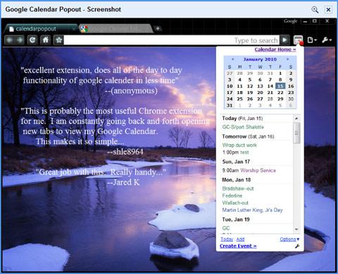 Google calendar popout